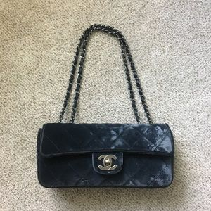 Chanel East West Velvet Flap Bag